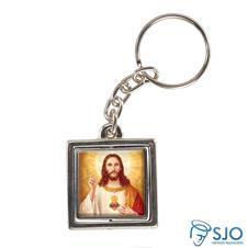 Chaveiro Quadrado Giratório da Sagrado Coração de Jesus - Modelo 2
