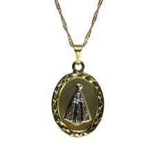 Colar de Nossa Senhora Aparecida Folheado a Ouro com Prata