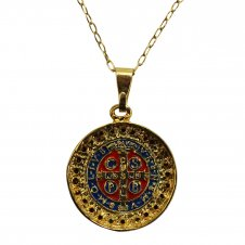Imagem - Colar Medalhão de São Bento Dourado cód: 081-496