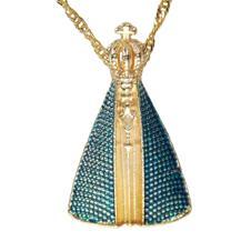 Colar Nossa Senhora Aparecida Matizado Azul