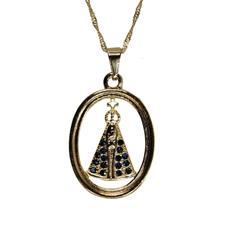 Imagem - Colar Nossa Senhora Aparecida Oval com Strass - 12558547-19
