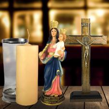 Imagem - Combo Tradicional Nossa Senhora Auxiliadora de resina de 17 cm cód: COMBO5