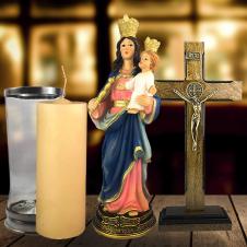 Imagem - Combo Tradicional Nossa Senhora Auxiliadora de resina de 30 cm cód: COMBO4