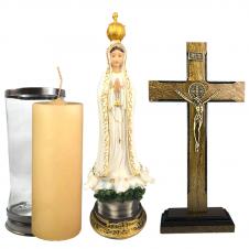 Imagem - Combo Tradicional Nossa Senhora de Fátima de resina de 30 cm cód: COMBO4-01