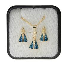 Imagem - Conjunto de Brinco e Colar Nossa Senhora Aparecida Azul cód: 10205410-0