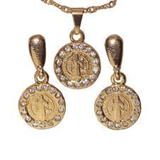 Imagem - Conjunto de Brinco e Colar de São Bento Folheado a Ouro cód: 19056563