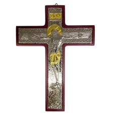 Crucifixo de Madeira e Prata com Detalhe Dourado - 22 cm
