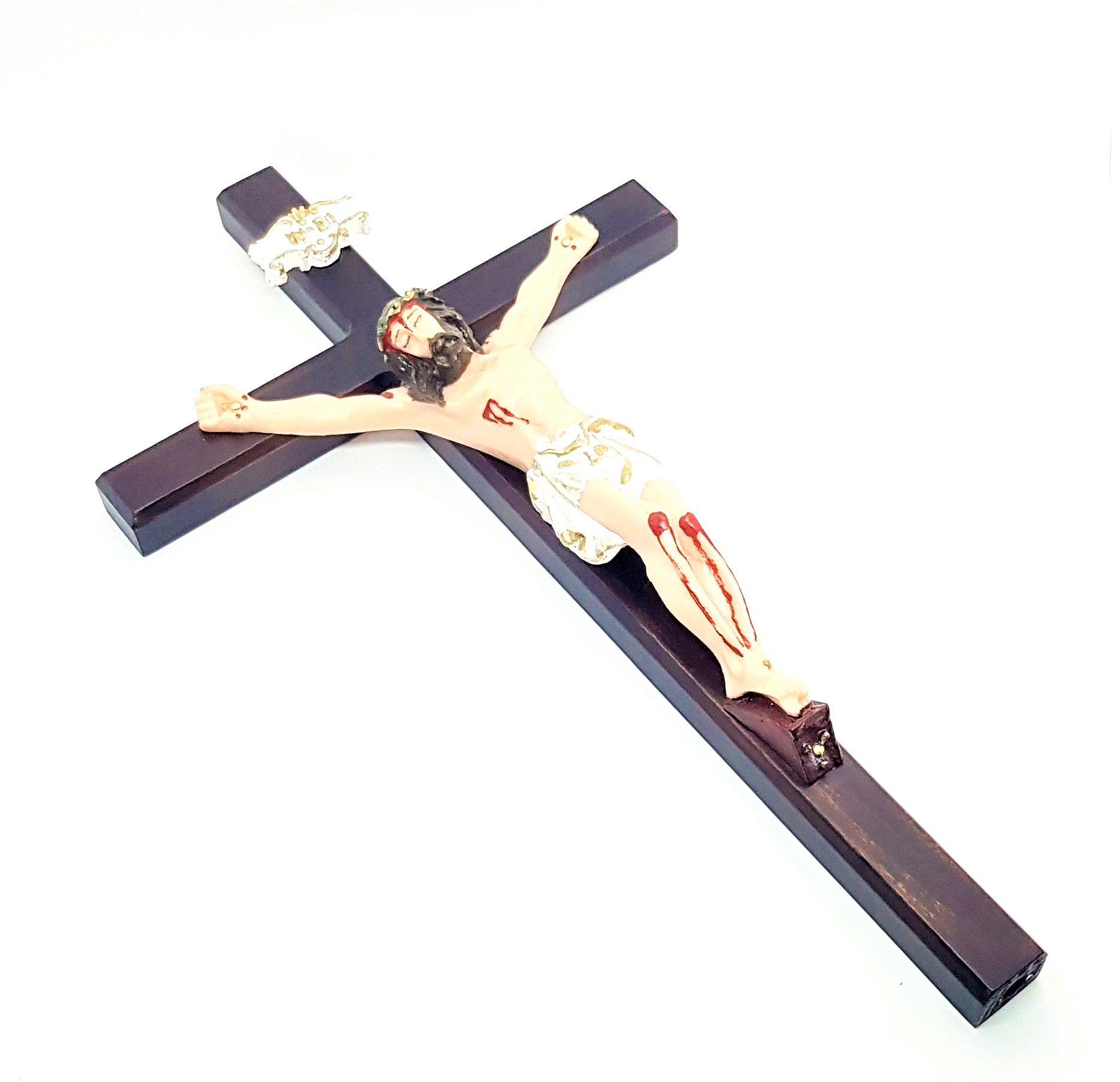 Imagem - Crucifixo de Parede c/ Cristo em Resina 33 cm 3000