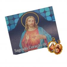 Imagem - Cartão com Medalha do Sagrado Coração de Jesus cód: 18397785