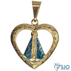 Pingente de Coração Nossa Senhora Aparecida - 1,5 cm