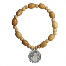Imagem - Pulseira de Madeira com Medalha de São Bento - 7,7 cm - 13543009-3