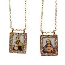 Imagem - Escapulário Folheado a Ouro com Strass cód: 18563609