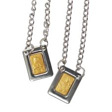 Escapulário de Inox Dourado Mini