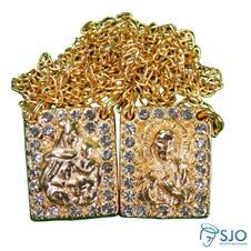 Escapulário Quadrado Folheado - Nossa Senhora do Carmo Dourado