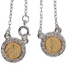 Imagem -  Escapulário redondo folheado a prata com dourado - F25M