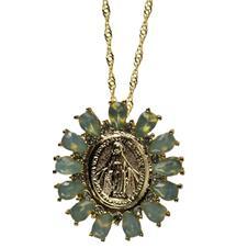 Colar Dourado Nossa Senhora das Graças com Strass