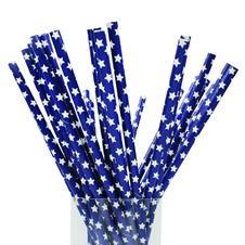 Imagem - Canudos de Papel Azul com Estrelas - 25 Unidades cód: 50.11.069