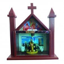 Imagem - Capela De Madeira De Nossa Senhora Aparecida Com Vidro e Iluminação 25 Cm cód: CAPNSA-M-25