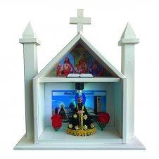 Imagem - Capela De Madeira De Nossa Senhora Aparecida Com Vidro e Iluminação 25 Cm cód: CAPNSA-B-25