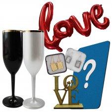 Imagem - Kit Dia dos Namorados com Taça de Champanhe Personalizada cód: KITNAMO5