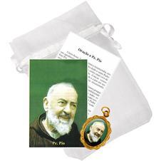 Saquinho com Medalha de Padre Pio