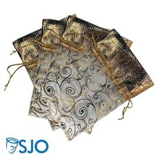Imagem - 100 Saquinhos de Organza com detalhes dourados - 19 x 14 cód: 17844410