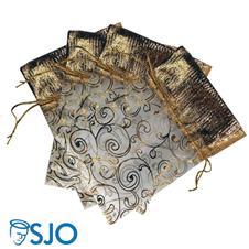 Imagem - 50 Saquinhos de Organza com detalhes dourados - 19 x 14 cód: 19618749