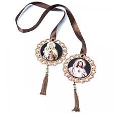 Imagem - Medalhão Nossa Senhora do Carmo e Sagrado Coração de Jesus cód: MDK4