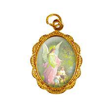 Medalha de alumínio - Anjo da guarda - Mod. 2 Dourado
