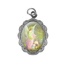 Medalha de alumínio - Anjo da guarda - Mod. 2 Níquel