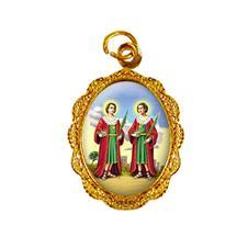 Medalha de alumínio - São Cosme e Damião Dourado