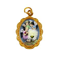 Medalha de alumínio do Anjo da Eucaristia Dourado