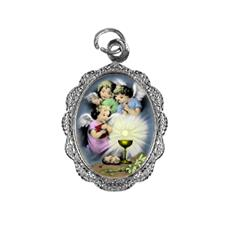 Medalha de alumínio - Anjo da Eucaristia Níquel