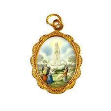 Medalha de alumínio - Nossa Senhora de Fátima - Mod. 2 Dourado
