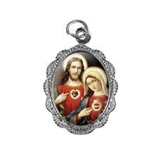 Imagem - Medalha de Alumínio - Sagrado Coração de Jesus e Maria - 10681074-20