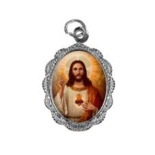 Medalha de alumínio - Sagrado Coração de Jesus - Mod. 02 Níquel