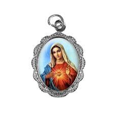 Medalha de alumínio - Sagrado Coração de Maria - Mod. 1 Níquel
