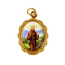 Medalha de alumínio - São Francisco de Assis Dourado
