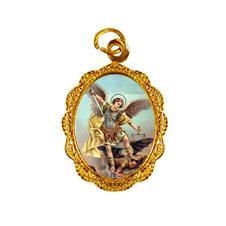 Medalha de alumínio - São Miguel Arcanjo - Mod. 2 Dourado