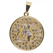 Imagem - Pingente de São Jorge Folheado a Ouro com Strass 14900663