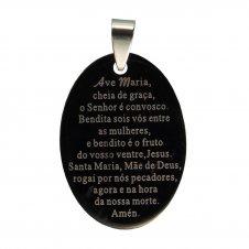 Imagem - Medalha Inox Preta com Oração de Ave Maria cód: 14630864
