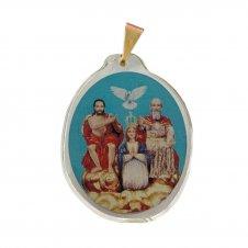 Imagem - Ref: MC-01-NSF   Ref: MC-01-JM   Medalha Oval de Cristal para Colar   Cor: Jesus Misericordioso   Cor: Nossa Senhora de  cód: MC-01-DPE