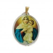 Imagem - Ref: MC-01-NSF   Ref: MC-01-JM   Medalha Oval de Cristal para Colar   Cor: Jesus Misericordioso   Cor: Nossa Senhora de  cód: MC-01-MR