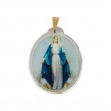 Imagem - Ref: MC-01-NSG2 | Medalha Oval de Cristal para Colar | Cor: Nossa Senhora das Graças cód: MC-01-NSG