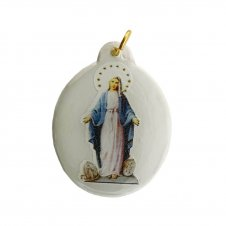 Imagem - Ref: MC-01-NSF   Ref: MC-01-JM   Medalha Oval de Cristal para Colar   Cor: Jesus Misericordioso   Cor: Nossa Senhora de  cód: MC-01-NSG2