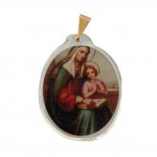 Imagem - Ref: MC-01-NSF   Ref: MC-01-JM   Medalha Oval de Cristal para Colar   Cor: Jesus Misericordioso   Cor: Nossa Senhora de  cód: MC-01-SA