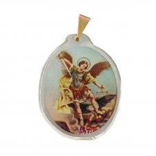 Imagem - Ref: MC-01-NSF   Ref: MC-01-JM   Medalha Oval de Cristal para Colar   Cor: Jesus Misericordioso   Cor: Nossa Senhora de  cód: MC-01-NSF