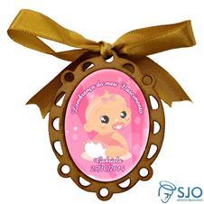 Medalhão de Madeira para Lembrancinhas de Nascimento - Oval Rosa