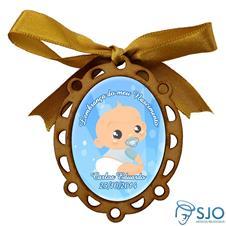 Medalhão de Madeira para Lembrancinhas de Nascimento - Oval Azul
