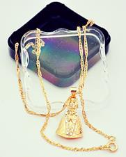 Colar Folheado a Ouro Nossa Senhora Aparecida Grande